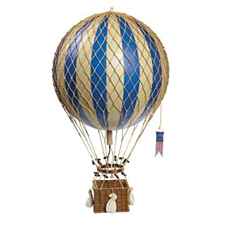 Blue Royal Aero - Hot Air Balloon Model - Features Hand-Knotted Netting and Rattan Basket - Authentic Models AP163D