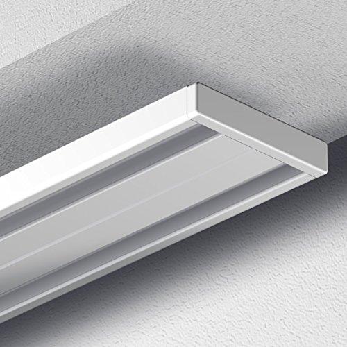 Garduna # 360cm Gardinenschiene Vorhangschiene, Aluminium, weiss, glatte, glänzende Oberfläche, (2-läufig oder 1-läufig, Wendeschiene)