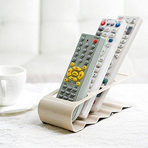 Wokee Fernbedienungshalter mit 4 Taschen - TV/DVD / VCR Schritt Fernbedienung Cradle Handyhalter Ständer Lagerung Platz für DVD, Blu-Ray, TV, Oder Apple TV Fernbedienungen (Weiß) (Vcr Dvd Tuner)