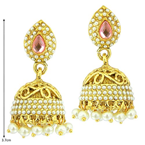 Diwali Gifts Peora Cut-Work Traditional Jhumkis For Girls & Women (Pink)