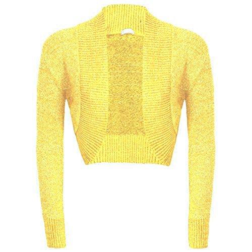 NEW Mesdames manches longues uni Lurex Boléro en tricot pour Cardigan en jersey pour homme Citron