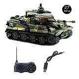 YouCute Mini RC Panzer mit USB Ladekabel Fernbedienung Panzer Panzer 1:72 Deutscher Tiger I mit Sound, Rotierendem Revolver und Rückstoß Aktion, wenn Kanonenartillerie schießt,mit deutsches Handbuch (Grün)