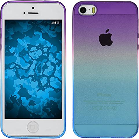 Funda de silicona para Apple iPhone 5 / 5s / SE - Ombrè Design:04 - Cover PhoneNatic Cubierta + protector de pantalla
