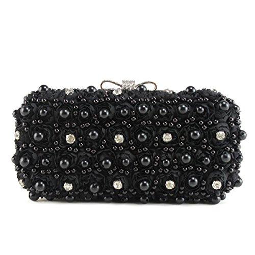 Süß Damen Handgemacht Wulstig Banketttasche Handtasche Diamant Braut Brautjungfer Mode Pop Abendtasche Black