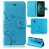 betterfon | Flower Case Handytasche Schutzhülle Blumen Klapptasche Handyhülle Handy Schale für Lenovo Moto G4 Play Blau