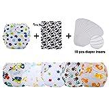 Zoylink 6 Stück Baby Windel Verstellbare Stoffwindel mit 10 Windeleinlagen und Nasser Trockentasche