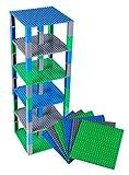 Strictly Briks Set per Costruzione Torre - Include 6 basi da 15,2 x 15,2 cm e pilastri 2x2 - compatibili con Tutte Le Principali Marche - Blu/Verde/Grigio