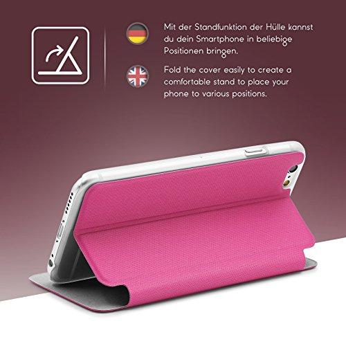 iPhone 6 / 6s Étui , Urcover View Case [avec Fenêtre] Housse Apple iPhone 6 / 6s avec Support Stand Coque Noir Protection Ecran Téléphone Fuchsia
