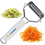 Primal Kitchenware - Ultra Sharp Stainless Steel Dual Julienne & Vegetable Peeler with Cleaning Brush & Blade Guard