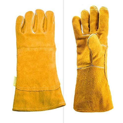 HZPXSB Elektroschweißen Weiche Rindslederindustrie Hochtemperaturisolierung Hitzebeständige, verschleißfeste Verdickung Lange Arbeitsversicherung Schweißerhandschuhe. (Color : Yellow) -
