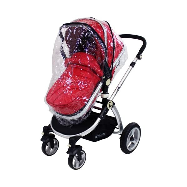 iSafe 2 in 1 Baby Pram System Complete (Red) iSafe 2 in 1 Stroller / Pram Extremely Easy Conversion To A Full Size Carrycot For Unrivalled Comfort Complete With Boot Cover, Luxury Liner, 5 Point Harness, Raincover, Shopping Basket With Closed Ziped Top High Quality Rubber Inflatable Wheels With The Full All around Soft Suspension For That Perfect Unrivalled Ride 6