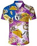 ALISISTER Brutto Camicia Hawaiana Abbottonata Camicetta a Maniche Corte Tshirt Adulto 3D Pizza Cat Aloha Partito Regular Fit Slim Camicie XL