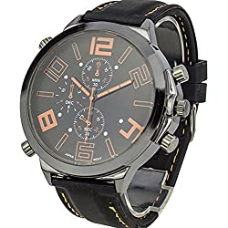 Men's Cool Super Large Dial Quartz Steel Silicone Band Wrist Watch Orange Pointer