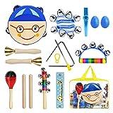 FishOaky Musikinstrumente Kinder, 15 Stück 11 Verschiedene Typen Percussion Holz Schlagzeug Kinder Spielzeug Set, Musikalisches Rhythmus Set mit Tragetasche für Kleinkinder Baby Mädchen Jungen