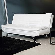 lounge-zone Sofá Sofás cama Sofá cama VENLO Piel artificial blanco Piernas del metal cromado 13010