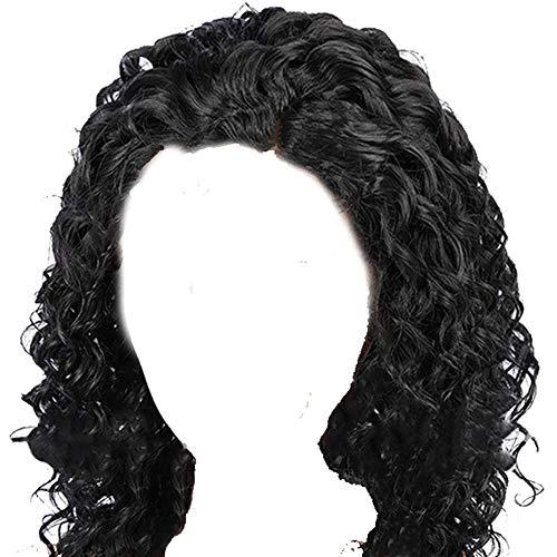 Damen Perücke, Afro-Stil, lockig, Kunsthaar, klebefrei, Lace-Front, natürlich aussehend, hitzebeständige Fasern