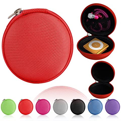 Magic Global Gadgets® Red Storage Bag Universal Carrying Clamshell Pouch Case Cover For MP3, Earphones, Headphones, iPod Shuffle, iPod Nano 6, Apple Watch Sport , Memory Cards, Gym Use