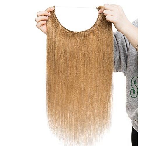 Extension capelli veri fascia unica con filo trasparente one piece wire in 100% remy human hair naturali lisci lunga 40cm pesa 60g, #27 biondo scuro