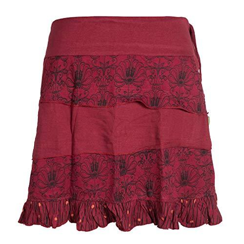 Vishes - Alternative Bekleidung - Damen Patch-Work Rüschen-Rock - Breiter Dehnbarer Bund und Taschen dunkelrot 40