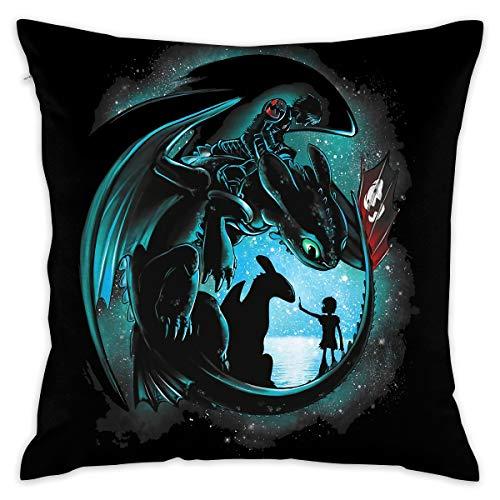 JIAYICENK Cómo Entrenar a tu dragón Funda de Almohada Decorativa de Lectura Fundas de Almohada 18 x 18 Pulgadas 3
