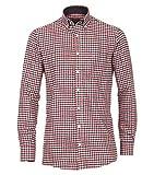 Casa Moda - Comfort Fit - Herren Flanell Freizeit Hemd in Braun oder rot kariert (472859600), Farbe:Rot (400), Größe:XXL