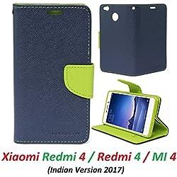 RidivishN Wallet Style Flip Cover Case For Mi Redmi 4 / Xiaomi Redmi 4 (5 inch display) (Blue,Green)