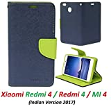 RidivishN Wallet Style Flip Cover Case for Xiaomi Redmi 4 (Blue,Green)
