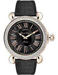 Glam Rock Vintage Damen-Armbanduhr 40mm Armband Leder Schwarz Batterie Analog GR28044DS