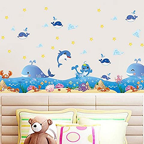 Ocean Whales Animals Wall Sticker Decal Home Paper PVC Murals House Wallpaper Bedroom Kids Babies Living Room Art Picture Decoration