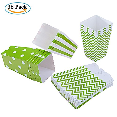 Diealles Popcorn Boxes, 36 Stück Popcorn Tüte Popcorn Candy Boxen Behälter für Party Snacks, Süßigkeiten, Popcorn und Geschenke - Grün (Klein Candy Box)