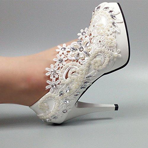 JINGXINSTORE Damen Strass Perlen Spitze Elfenbein Peep Toe Schuhe High Heel Stilettos, Hochzeitssuite, EUR 36 = US 5 = UK 3, weiß, 10 cm 5 Stiletto Heels