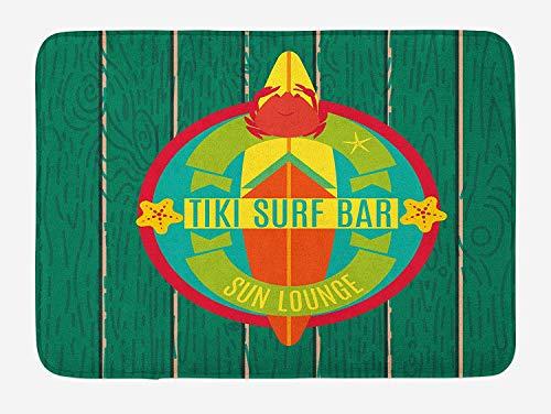 CHKWYN Tiki Bar Bath Mat, Tiki Surf Bar Sun Lounge Holiday Vacation Theme Surfboard Crab Starfishes Print, Plush Bathroom Decor Mat with Non Slip Backing, Multicolor,15.7X23.6 inch