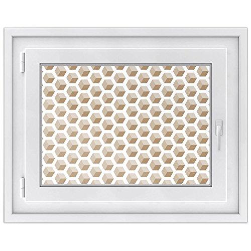 Fenster-Aufkleber | Fensterbild für Wohnzimmer und Schlafzimmer | dekorative Sichtschutzfolie für Fenster in Bad und Küche | selbstklebende Fensterfolie | Design Falling Cubes - Braun - 70 x 50 cm