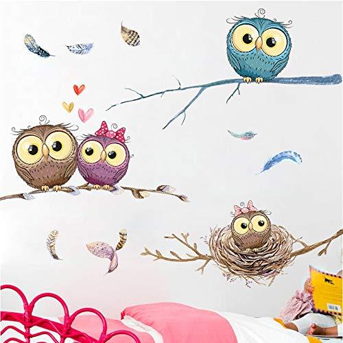 HOUSEHOLD Nordic Einfache Karikatur-Aufkleber Baby-Kinderzimmer-Wand-Aufkleber Eulen-Aufkleber Schlafzimmer Porch Korridor Wand-Papier Selbstklebende Tapete Wandsticker Murals