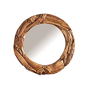 massiver treibholz spiegel tribe 50 cm aus recyceltem teakholz rund wandspiegel. Black Bedroom Furniture Sets. Home Design Ideas