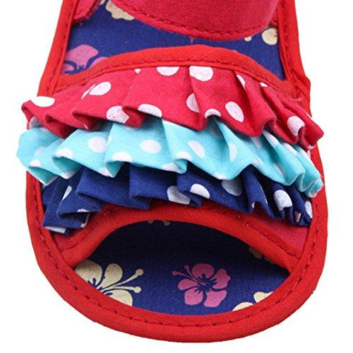 Pour 3-11 mois Bébé,Transer ® Bébé fille fleur Crib chaussures souples semelle anti-dérapant sandales Rouge