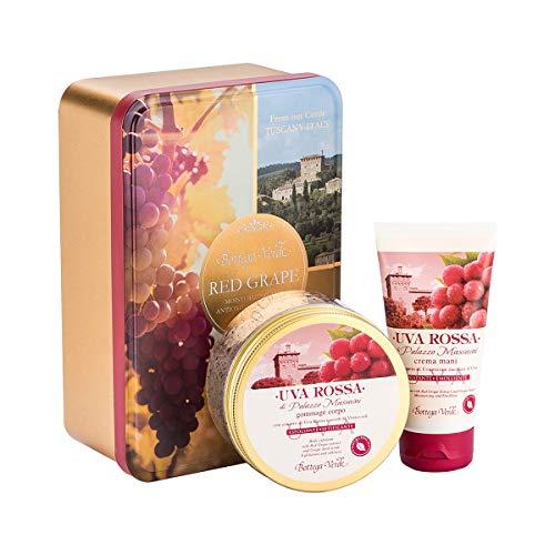 Bottega verde - confezione regalo con scatola decorativa in metallo - linea uva rossa di palazzo massaini - crema mani idratante ed emolliente - scrub corpo esfoliante setificante con vinaccioli