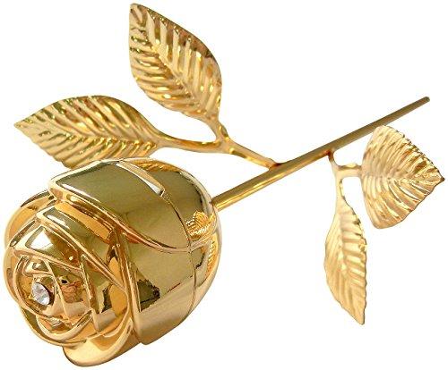 St. Leonhard Goldene Rose: Ringschatulle Vergoldete Rose, mit Stiel & Strassstein (Echte Rose vergoldet)