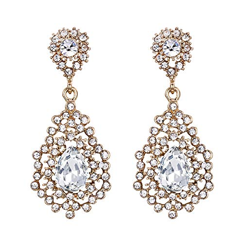 EVER FAITH Austrian Crystal Art Deco Hollow Prom Drop Dangle Earrings Clear Gold-Tone for Women, Bride