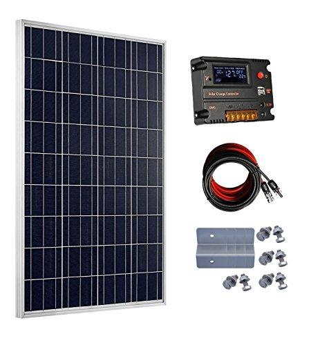 El paquete incluye: - 1panel solar de 100 W y 18 V, con conector MC4. - 4kits de montaje de tipo Z. - 1controlador solar de 20 A. - 1 par de cables solar de extensión MC4, de 5 metros, de 4 mm (5 m rojo y 5 m negro). Especificación: Panel solar po...