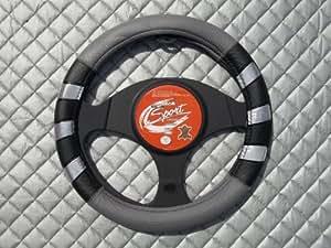 Seat Ibiza/Leon Couvre-volant Noir 7 M Gris argent SWP 14,5 cm-Médium