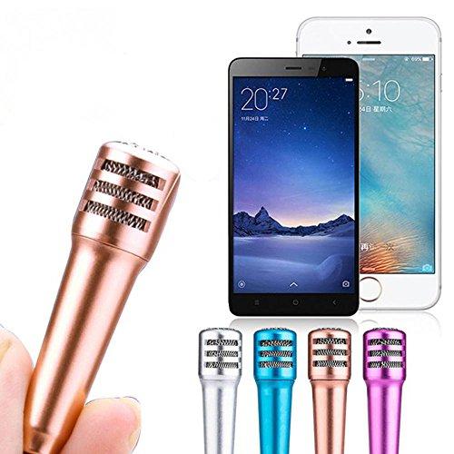 Efanr Mini-Handy-Mikrofon mit Stereo-Klang, Aufnahme-Mikrofon mit Ohrhörern, 3,5mm für Computer, iPhone 7,6,6S, 5,zum Chatten, für Smartphone, zum Singen, für Karaoke blau