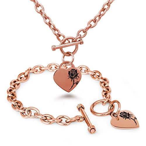 rose-vergoldet-edelstahl-bezaubernde-rose-gravierte-herz-charme-armband-halskette-set