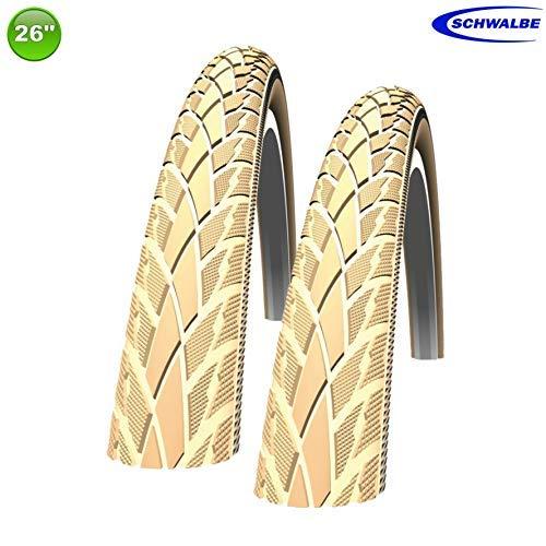 2 x Schwalbe Road Cruiser Fahrradreifen Mantel Decke Creme Reflex 47-559