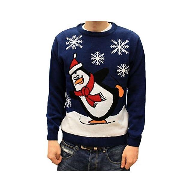 242a9356f991e Pull de Noël Fantaisie UK Bleu Royal - Penguin faisant du Patin Glace  Unisexe pour Hommes ...