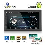 Camecho Doppel Din Autoradio Android 8.1 MP5 Player mit 7 Zoll HD voller Touch Screen Doppel USB GPS Bluetooth FM/AM Radio Videoplayer Unterstützung DVR Rückfahrkamera Eingang