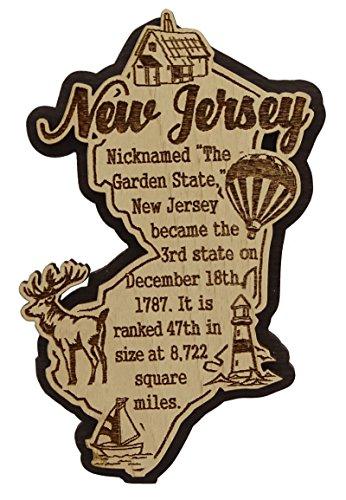 USA-New-Jersey Staats-Karten-hölzerner Magnet-Andenken-Kühlraum-Magnet-Geschenk