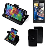 360° Funda Smartphone para Fairphone Fairphone 2, negro | Función de stand Caso Monedero BookStyle mejor precio, mejor funcionamiento - K-S-Trade
