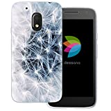 dessana Pusteblume Transparente Silikon TPU Schutzhülle 0,7mm dünne Handy Tasche Soft Case für Motorola Moto G4 Play Löwenzahn Blüte