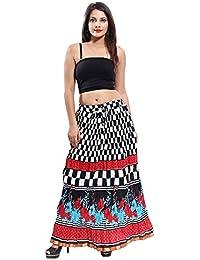 Gaurangi Women's Cotton Designer Multicolor Checks Printed Long Skirt